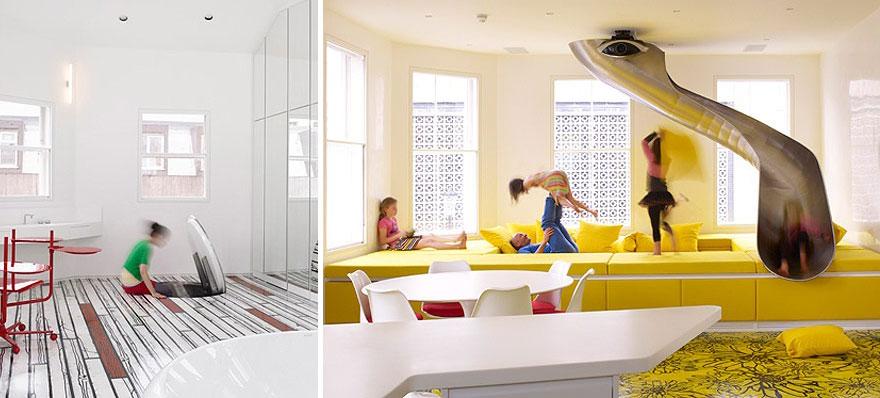 7. Скрита пързалка като вход към стая за игри